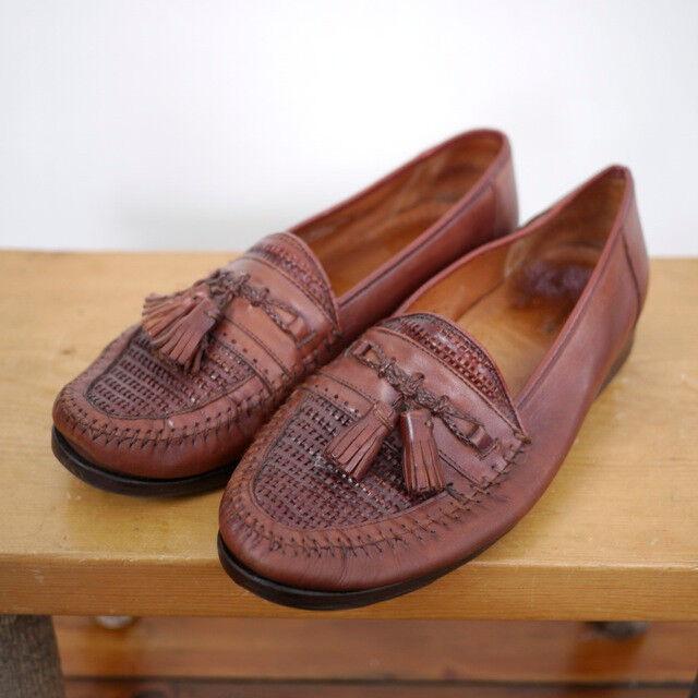 Vintage Nordstrom Woven Leather Kappa Tassel Moc Toe Moccasin Loafers 9 42.5