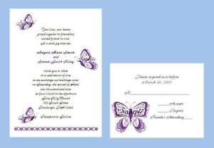 Details About 100 Personalized Custom Scroll Purple Butterfly Bridal Wedding Invitations Set