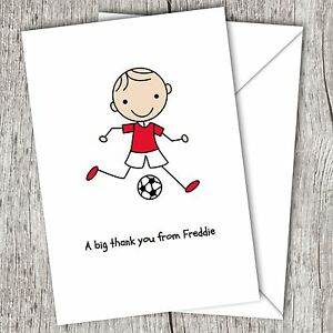 personalised boys children s kids folded thank you cards