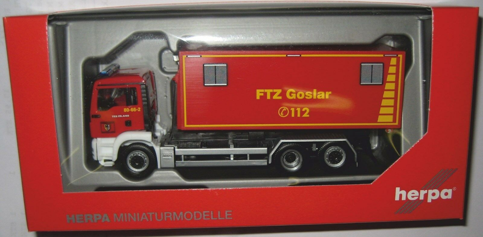 Herpa 092722 MAN TGS M 3-axe amovible Chargeuses-camions feuerwehrwehr Goslar 1 87 HO