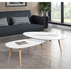 STONE Table basse 88x48cm laqué blanc brillant