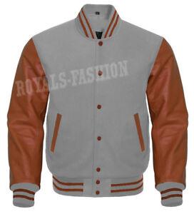 de mangas Varsity gris lana genuino y chaqueta Letterman cuero marrón Baseball de aFqwq6ZA