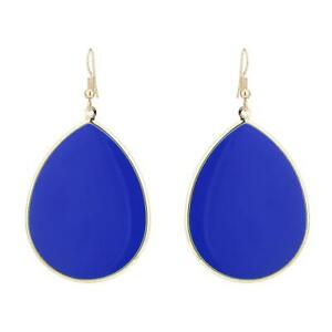 Brass-goldene-blaue-Ohrringe-Emaille-dicke-Tropfen-Ohrhaenger-5-cm