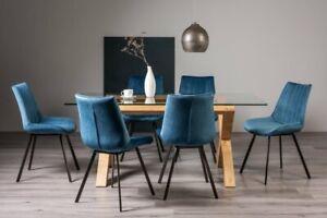 Goya Light Oak Glass 6 Seat Dining Table & 6 Fontana Blue Velvet Fabric Chairs
