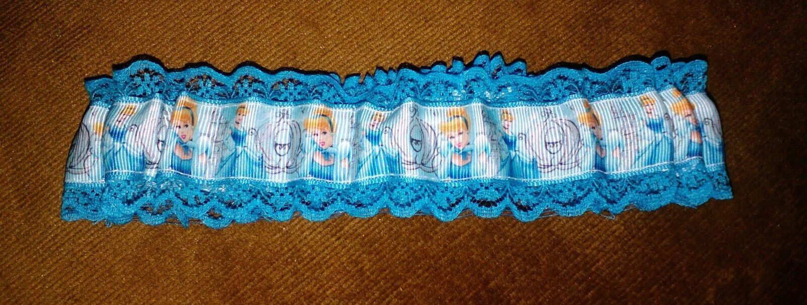 Cinderella on lagoon blue lace wedding garter burlesque garter new defect