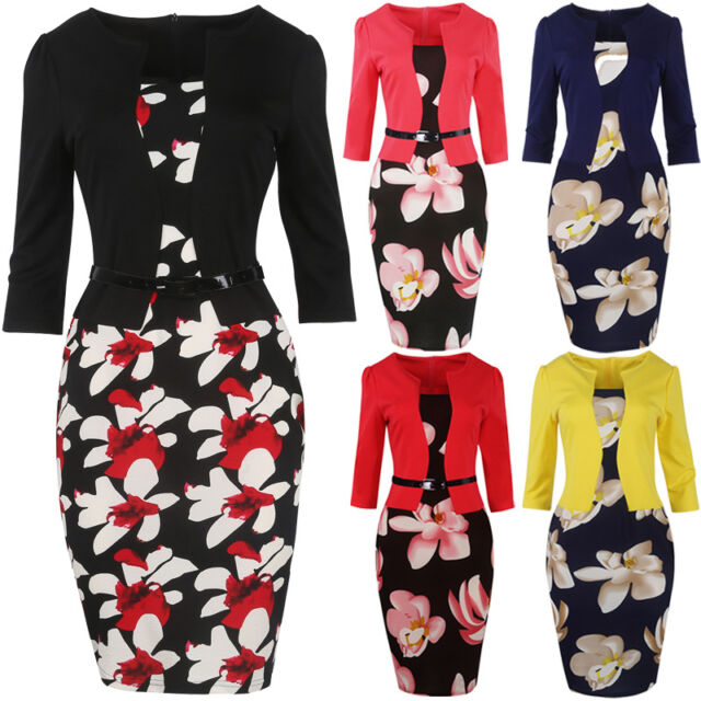 Plus S-4XL Women Business Wear to Work Party Prom Bodycon Pencil Dress With Belt