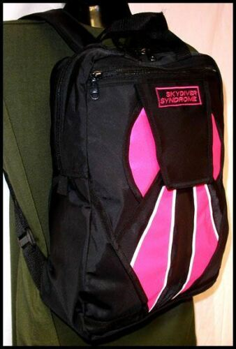 Skydiver Syndrome Backpack Parachute Mini Container Rig Gym Book Bag Pink S10