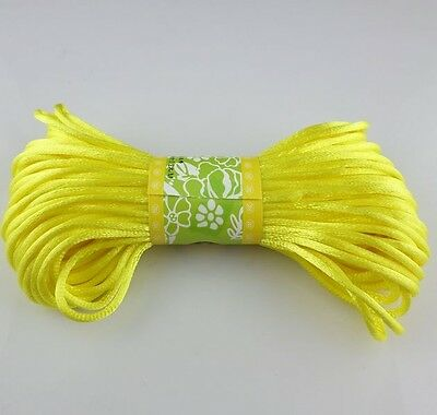 20m Chinese Knot Satin Nylon Braided Cord Macrame Beading Rattail Cords 3mm