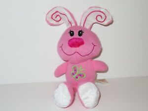 Dan-Dee-Pink-Knit-Bunny-Rabbit-Plush-Stuffed-Animal-Toy-Butterfly-White-11-034-Doll