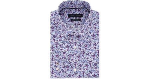 Tommy Hilfiger Slim-Fit THFLEX Floral Dress Shirt Violet Twist Mens 16.5 34//35