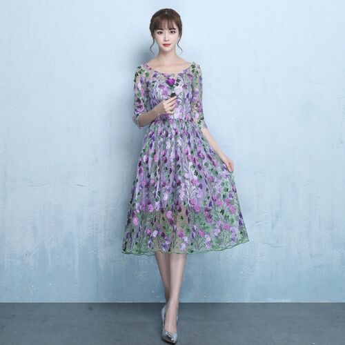 Plum Blossom Embroidery Floral Fabric Lace Mesh Wedding Bridal Dress Fairy Cloth