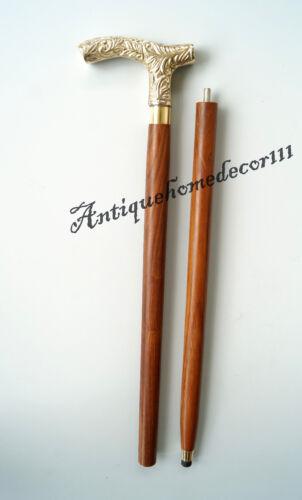 Vintage Walking Stick Woman Brass Handle In Golden Finish W//Free Key Chain Gift