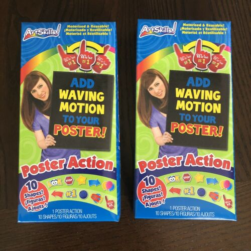 Set of 2 ArtSkills Poster Action 10 Shapes Figures Add Waving Motion New PA-1481