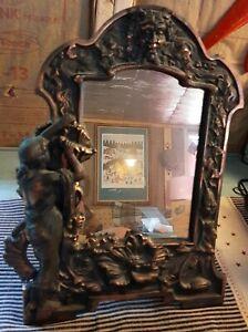 Vintage Art Deco Nouveau Bronze Iron Heavy Table Mirror Woman Dress & Face