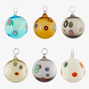 Palline-palle-vetro-Murano-set-6-pz-Natale-fatte-a-mano-colori-assortiti-murrina