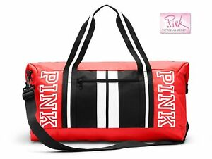 1d49561d9b52 Victoria s Secret PINK Duffle Gym Bag Neon Red Coral Red Black White ...