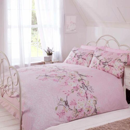 Eloise Floral Housse De Couette Double /& Taie d/'oreiller literie rose