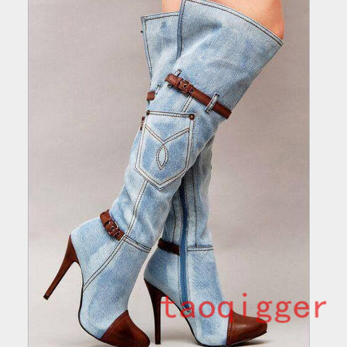Womens Over The Knee High Boots Denim Pointy Toe Stiletto Sexy Shoes Leather New