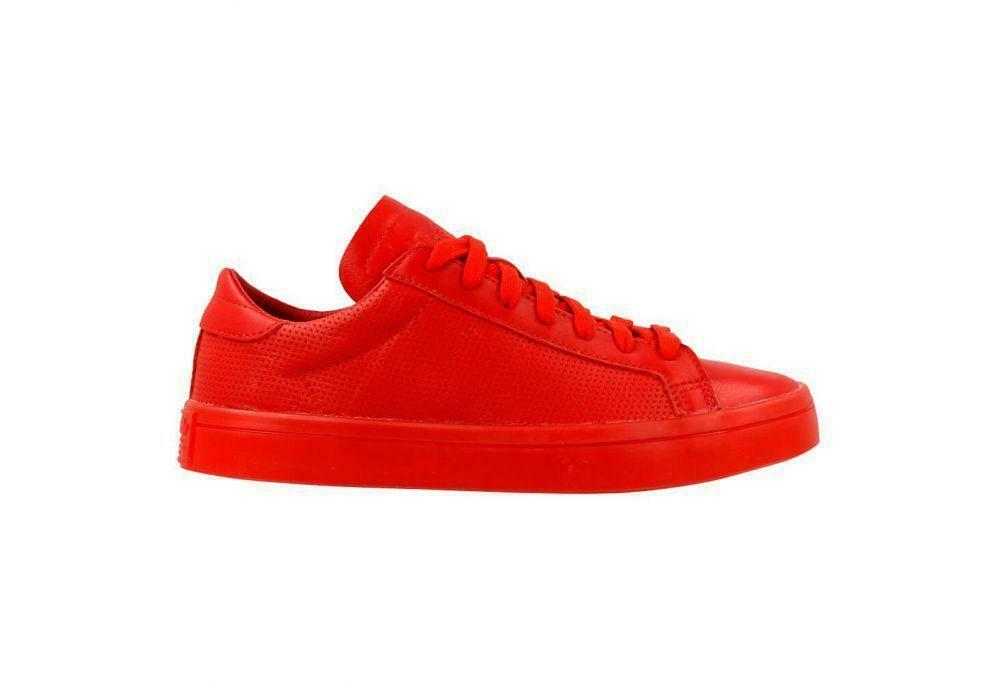 Mens Mens Mens ADIDAS COURTVANTAGE ADICOLOR Red Leather Trainers S802539 4ee96c