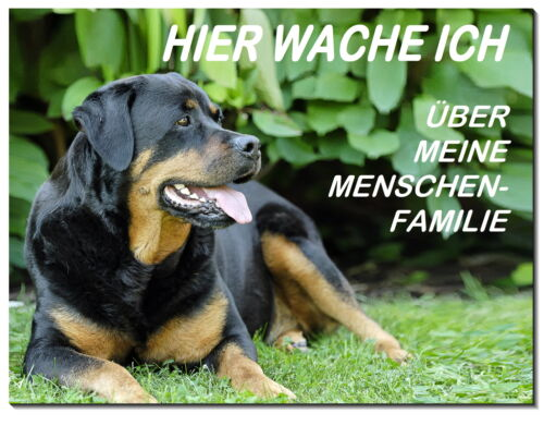 Rottweiler-Hund-Alu-Schild-0,5 oder 3 mm dick-Türschild-Warnschild-Hundeschild