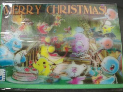 Pokemon Natal Cartão De Natal 3D Pikachu Chansey Squirtle Eevee Moltres cubónico