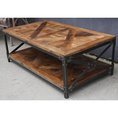 NEW SHEFFIELD STEEL INDUSTRIAL VINTAGE RECYCLED OREGON COFFEE TABLE. STEEL BASE.