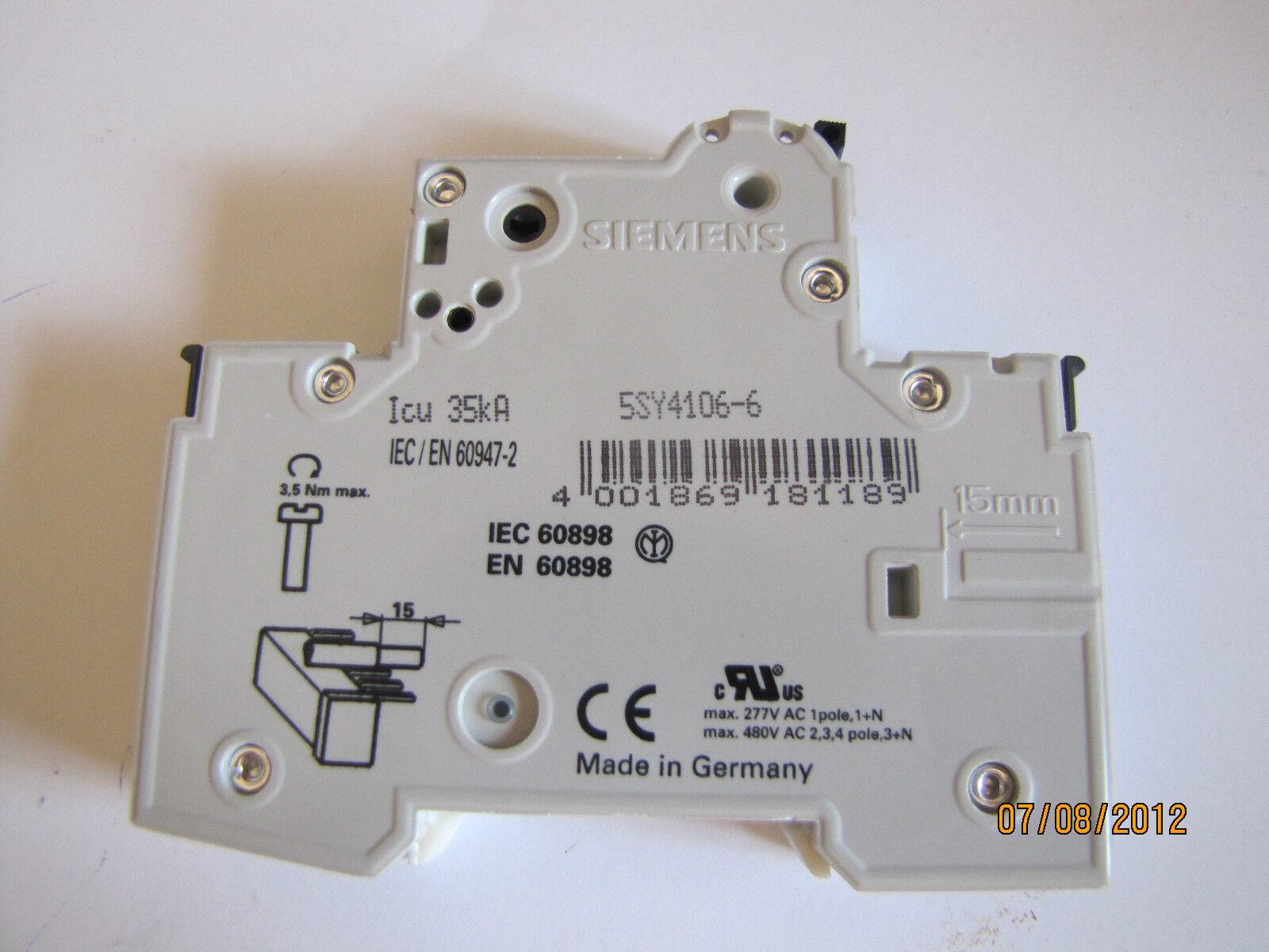 Siemens B6 Circuit Breaker 5sy4 106 6 Ebay Used Breakers Ite E43b060 60 Amp 3 Pole