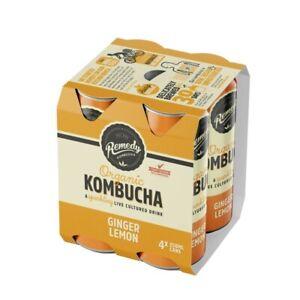 Remedy-Organic-Kombucha-Ginger-Lemon-Drink-Multipack-Cans-250mL-4-pack