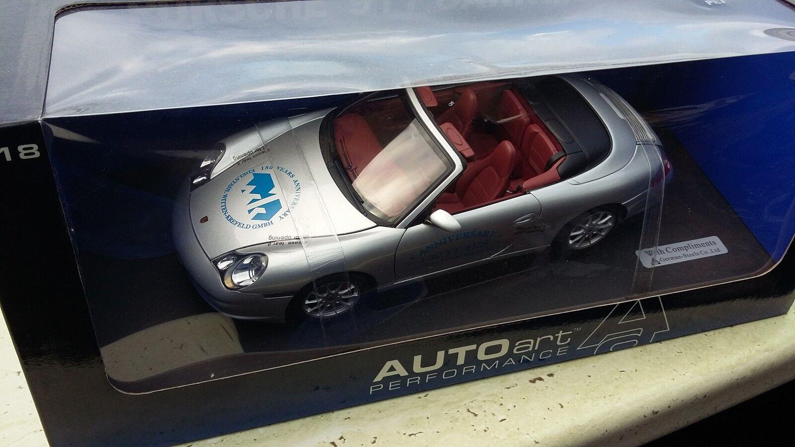 1 18 PORSCHE 911 Carrera Cabriolet Autoart  en acier inoxydable Witten-Krefeld GmbH  neuf dans sa boîte