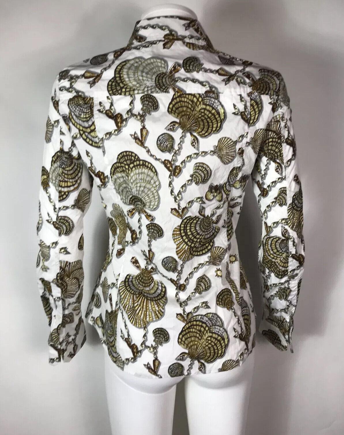 Rare Vtg Gucci White Seashell Print Top S - image 6