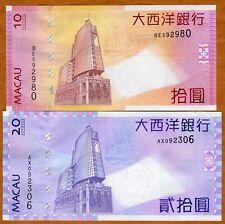 SET Macao / Macau, 10 + 20 Patacas, 2010, BNU, Picks 80b-81b, UNC