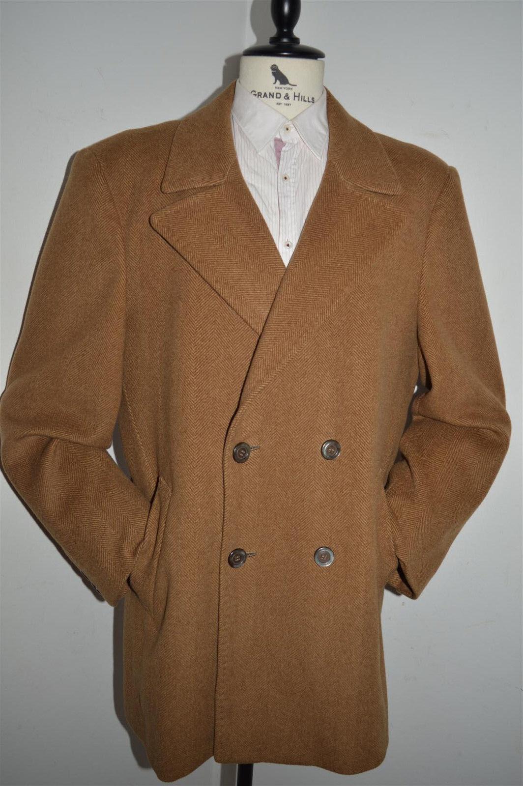 Vtg BESPOKE Herringbone WOOL Double Breasted Over Coat men size L XL 44L 46 Long