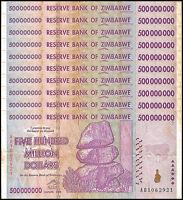 Zimbabwe 500 Million Dollar Banknote X 10 PCS, 2008, AB Series, USED