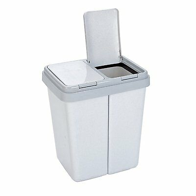 Kitchen Double Garbage Container Home Recycle Plastic Bin Bag Trash Can lid Grey