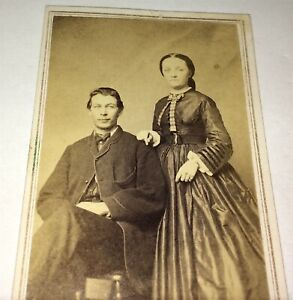 Antique-American-Civil-War-Victorian-Fashion-Couple-Bristol-Vermont-CDV-Photo