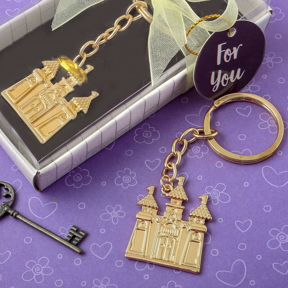 80 Gold Castle Keychains Fairytale Wedding Bridal Shower Birthday Party Favors