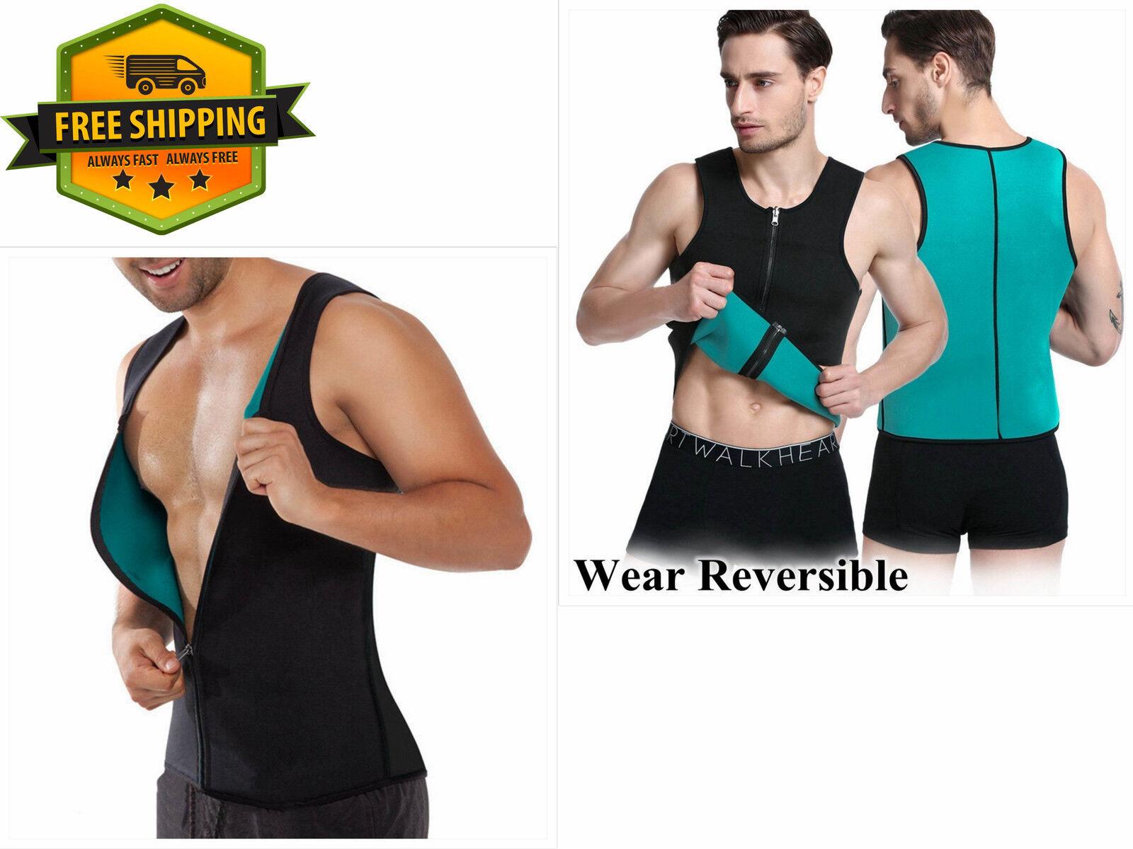 Men's XL Body Shaper Sauna Sweat Workout Suit Fitness Vest Waist Weight Loss New