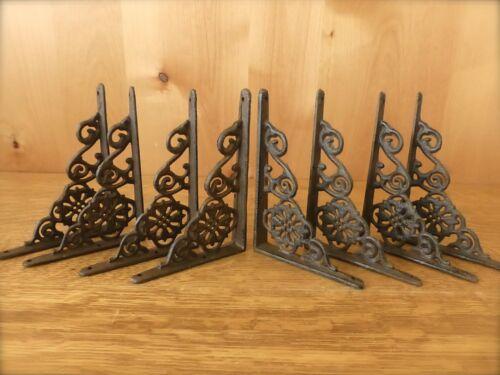 "8 BROWN ANTIQUE-STYLE 6.5/"" SHELF BRACKETS CAST IRON rustic garden DECORATIVE"