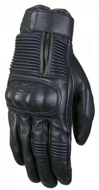 Furygan James D3O Motorcycle Gloves Black Summer Leather Gloves Retro Look