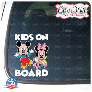 "Little Mickey and Minnie | ""Kids On Board"" | Printed Die-Cut Vinyl Decal"