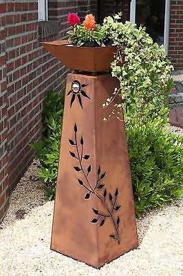 Schale  Rostsäule  Rostsäulen  Rostdeko Deko RS103+S11 XL konische Rost Säule