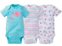 Gerber Baby Girl Onesies Bodysuits Variety 3-pack Baby Shower Gift - Blue -