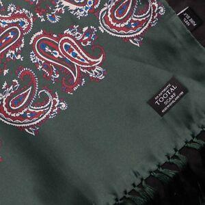 Tootal-Vintage-Motivo-Cachemira-100-Seda-Con-Flecos-Bufanda-en-BOSQUE-VERDE-MOD