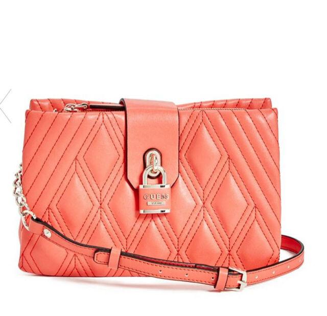 GUESS Shea Crossbody Handbag Purse Quilted Coral Pink   eBay 3143d8c81e