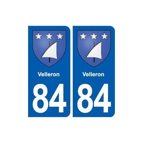 84 Velleron blason autocollant plaque stickers ville -  Angles : arrondis