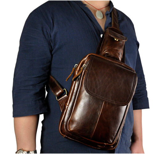 Men Real Leather Sling Chest Back Pack Travel Messenger Hiking Shoulder Bag