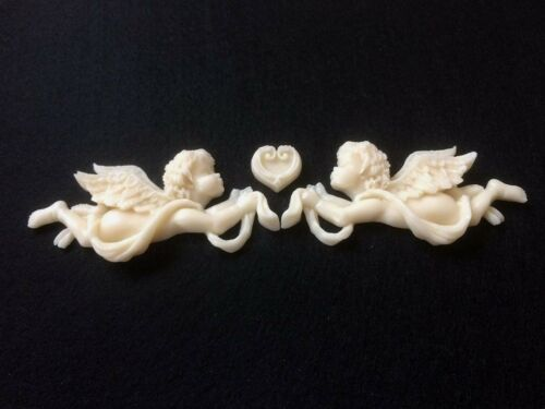 Set of 2 Vintage Shabby Chic Decorative Baby Angel Cupid /& Mini Heart Mouldings