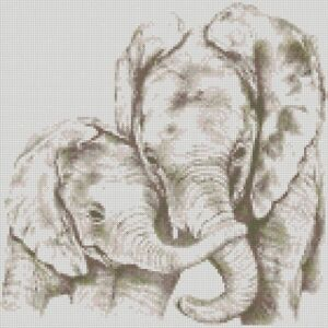 Cross-Stitch-Chart-Kit-Elephant-Mum-and-Baby