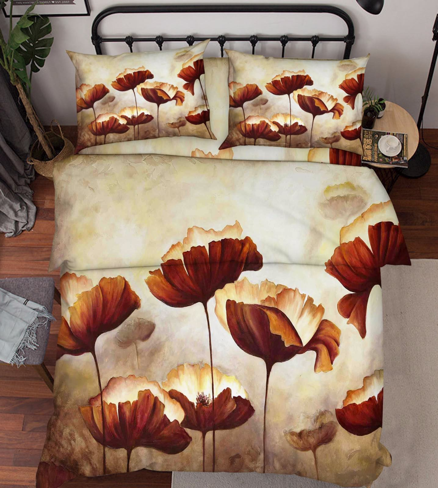 3D Metal Flowers Bed Pillowcases Quilt Duvet Cover Set Single Queen King Größe AU