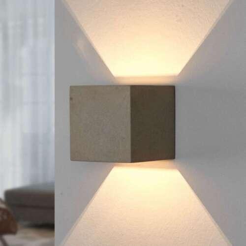 Wandleuchte Jayden Beton Eckig Licht Oben Unten Lampenwelt Wandlampe Wohnzimmer